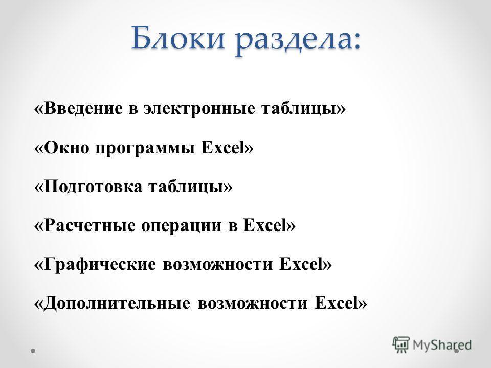 Блоки раздела: «Введение в электронные таблицы» «Окно программы Excel» «Подготовка таблицы» «Расчетные операции в Excel» «Графические возможности Excel» «Дополнительные возможности Excel»