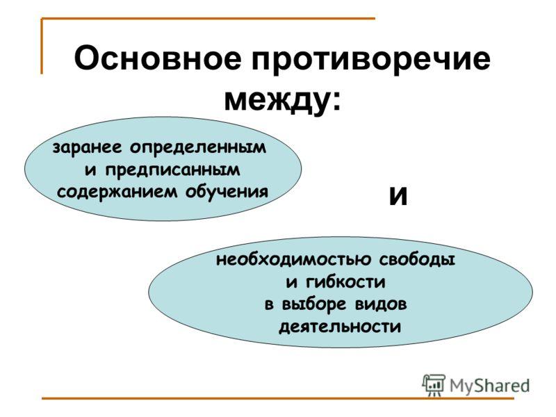 заранее определенным и предписанным содержанием обучения необходимостью свободы и гибкости в выборе видов деятельности Основное противоречие между: и