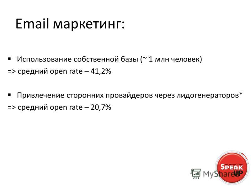 Email маркетинг: Использование собственной базы (~ 1 млн человек) => средний open rate – 41,2% Привлечение сторонних провайдеров через лидогенераторов* => средний open rate – 20,7%