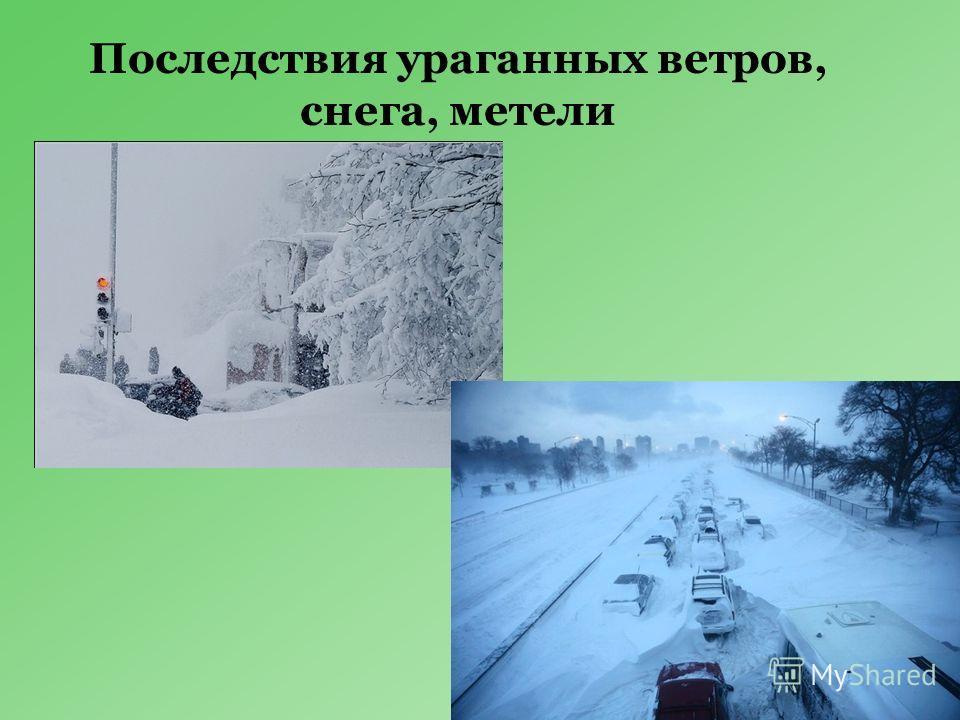 Последствия ураганных ветров, снега, метели
