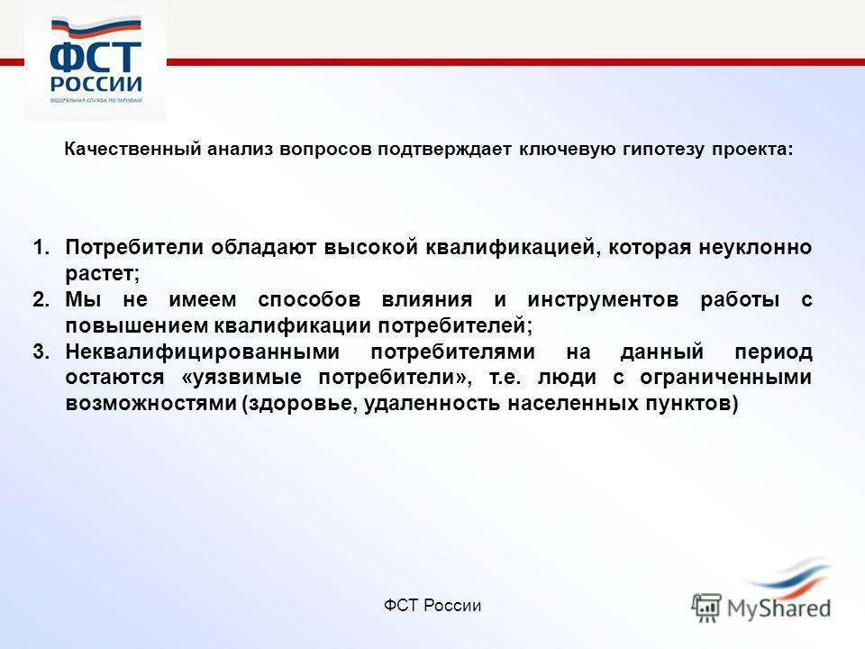 ФСТ России Качественный анализ вопросов подтверждает ключевую гипотезу проекта: 1.Потребители обладают высокой квалификацией, которая неуклонно растет; 2.Мы не имеем способов влияния и инструментов работы с повышением квалификации потребителей; 3.Нек