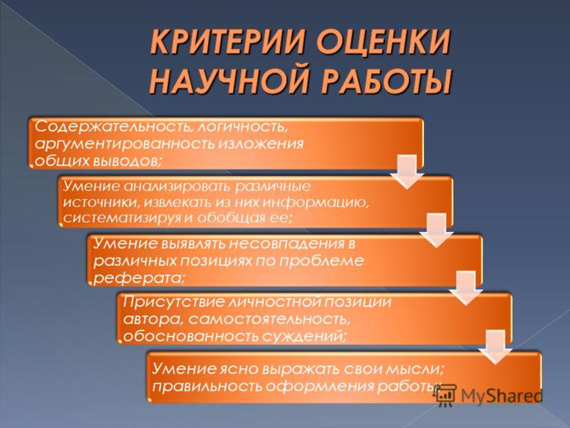 Содержательность, логичность, аргументированность изложения общих выводов; Умение анализировать различные источники, извлекать из них информацию, систематизируя и обобщая ее; Умение выявлять несовпадения в различных позициях по проблеме реферата; При