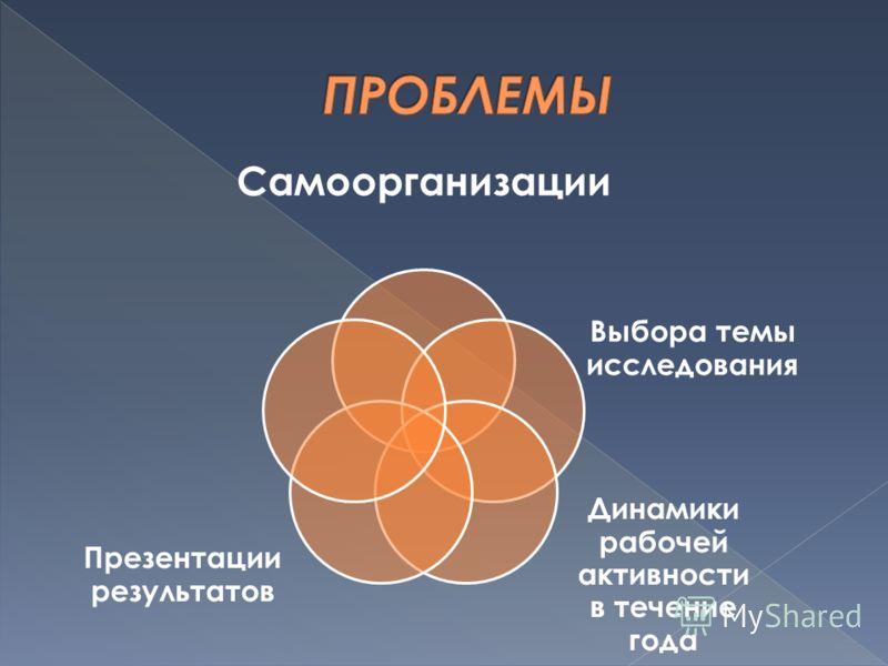 Самоорганизации Выбора темы исследования Динамики рабочей активности в течение года Презентации результатов