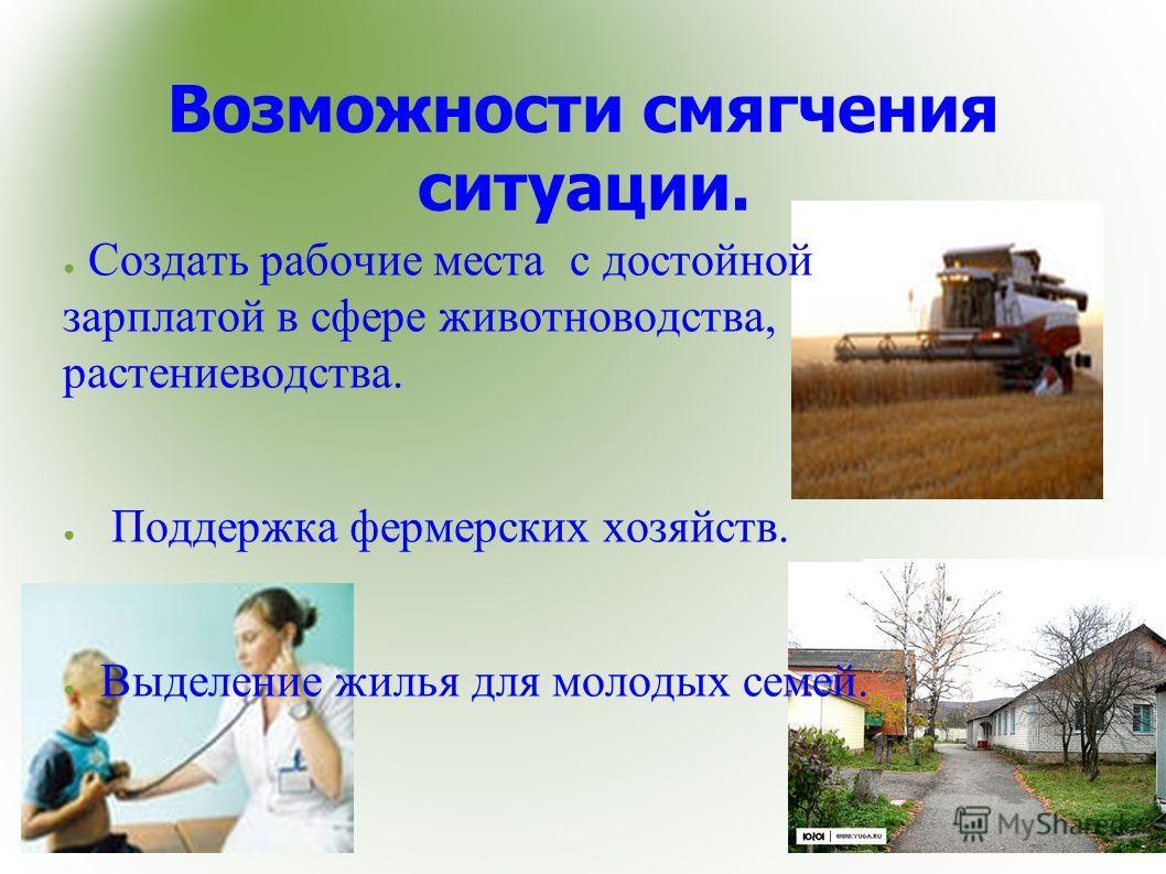 Возможности смягчения ситуации. Создать рабочие места с достойной зарплатой в сфере животноводства, растениеводства. Поддержка фермерских хозяйств. Выделение жилья для молодых семей.