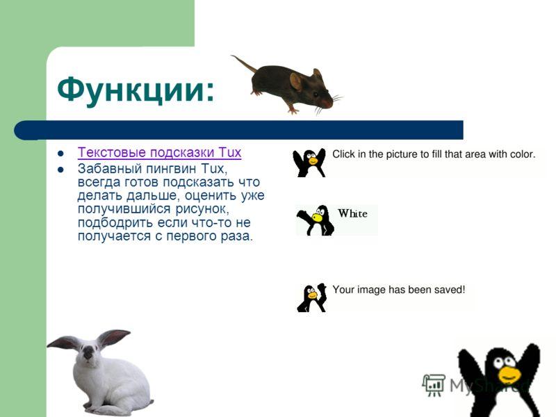 Функции: Текстовые подсказки Tux Забавный пингвин Tux, всегда готов подсказать что делать дальше, оценить уже получившийся рисунок, подбодрить если что-то не получается с первого раза.
