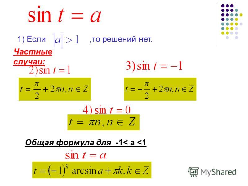 1) Если,то решений нет. Частные случаи: Общая формула для -1< a
