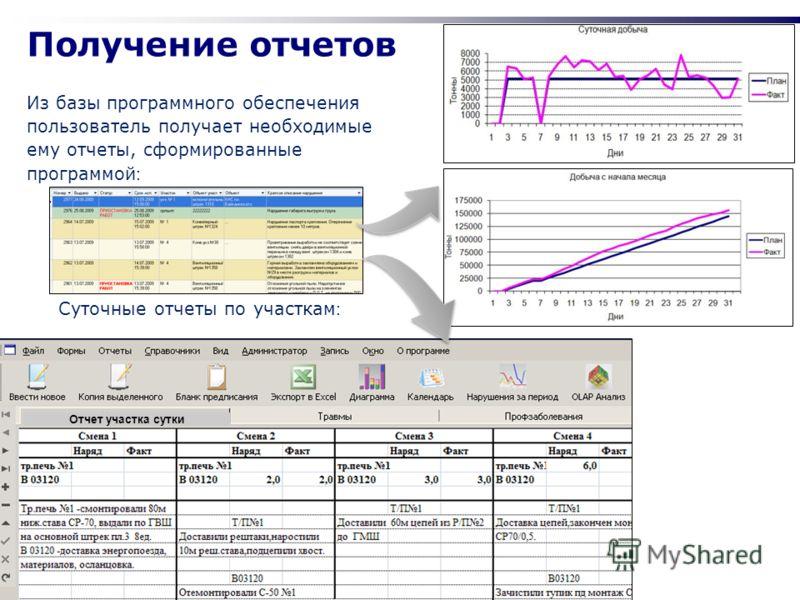 www.vistgroup.ru Получение отчетов Из базы программного обеспечения пользователь получает необходимые ему отчеты, сформированные программой : Суточные отчеты по участкам : Отчет участка сутки