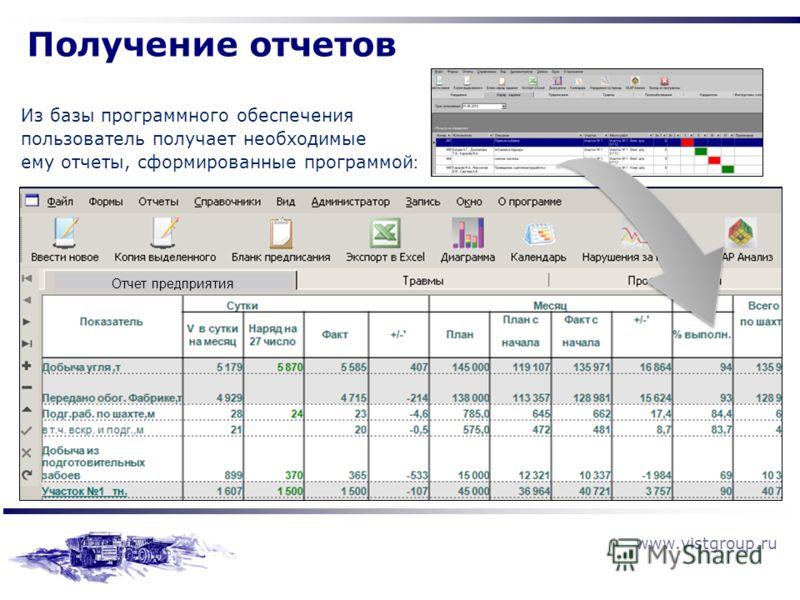 www.vistgroup.ru Получение отчетов Из базы программного обеспечения пользователь получает необходимые ему отчеты, сформированные программой : Отчет предприятия