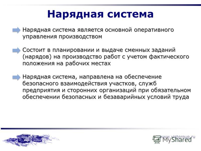 www.vistgroup.ru Нарядная система является основной оперативного управления производством Состоит в планировании и выдаче сменных заданий (нарядов) на производство работ с учетом фактического положения на рабочих местах Нарядная система, направлена н