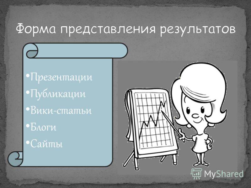 Презентации Публикации Вики-статьи Блоги Сайты