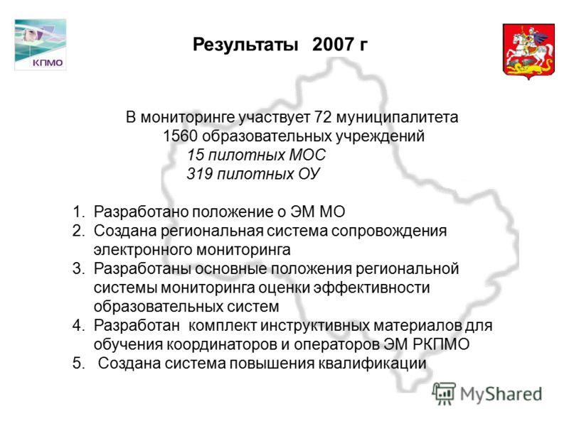 Московская область Результаты 2007 г В мониторинге участвует 72 муниципалитета 1560 образовательных учреждений 15 пилотных МОС 319 пилотных ОУ 1.Разработано положение о ЭМ МО 2.Создана региональная система сопровождения электронного мониторинга 3.Раз