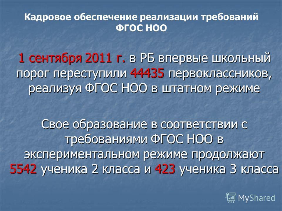 1 сентября 2011 г. в РБ впервые школьный порог переступили 44435 первоклассников, реализуя ФГОС НОО в штатном режиме Свое образование в соответствии с требованиями ФГОС НОО в экспериментальном режиме продолжают 5542 ученика 2 класса и 423 ученика 3 к