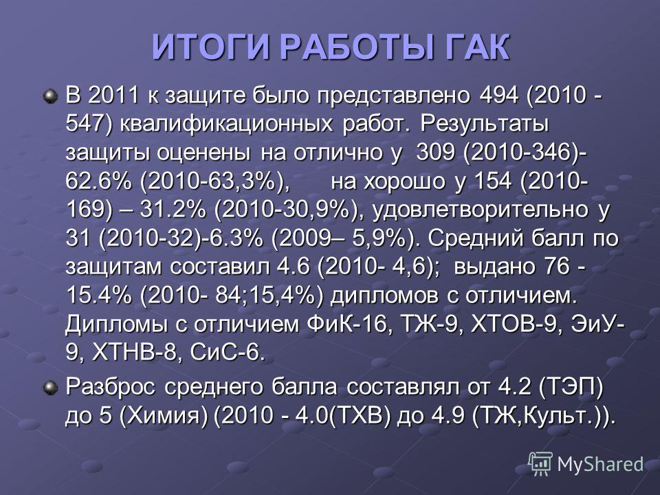 ИТОГИ РАБОТЫ ГАК В 2011 к защите было представлено 494 (2010 - 547) квалификационных работ. Результаты защиты оценены на отлично у 309 (2010-346)- 62.6% (2010-63,3%), на хорошо у 154 (2010- 169) – 31.2% (2010-30,9%), удовлетворительно у 31 (2010-32)-