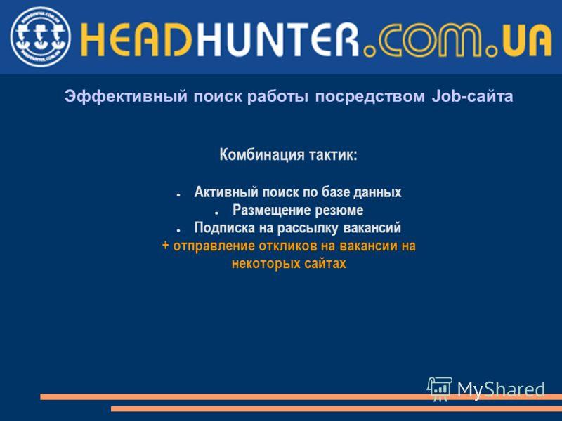 Эффективный поиск работы посредством Job-сайта Комбинация тактик: Активный поиск по базе данных Размещение резюме Подписка на рассылку вакансий + отправление откликов на вакансии на некоторых сайтах