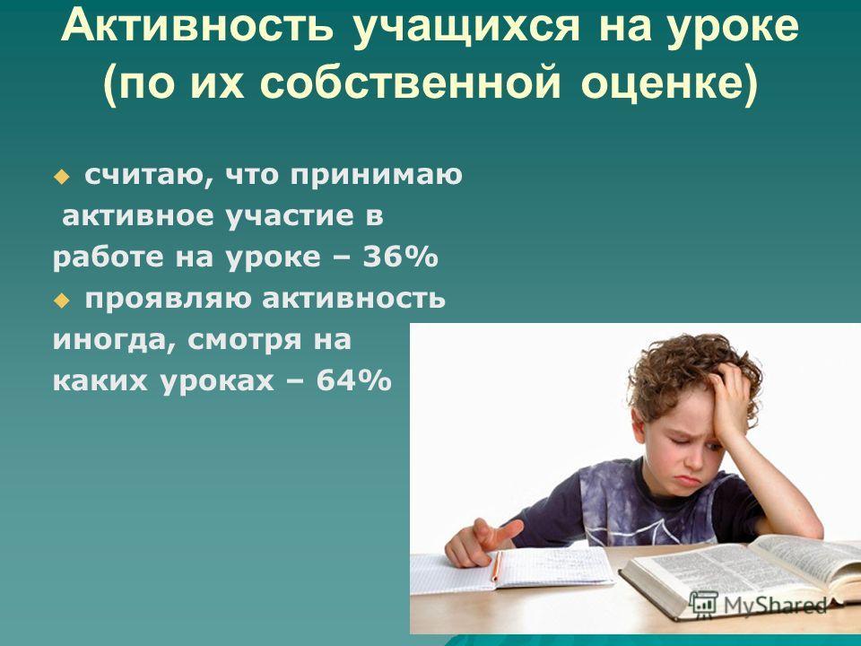 Активность учащихся на уроке (по их собственной оценке) считаю, что принимаю активное участие в работе на уроке – 36% проявляю активность иногда, смотря на каких уроках – 64%