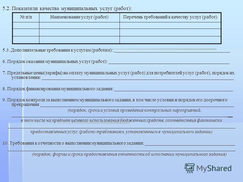 5.2. Показатели качества муниципальных услуг (работ): 5.3. Дополнительные требования к услугам (работам): ________________________________________________ 6. Порядок оказания муниципальных услуг (работ): ______________________________________________