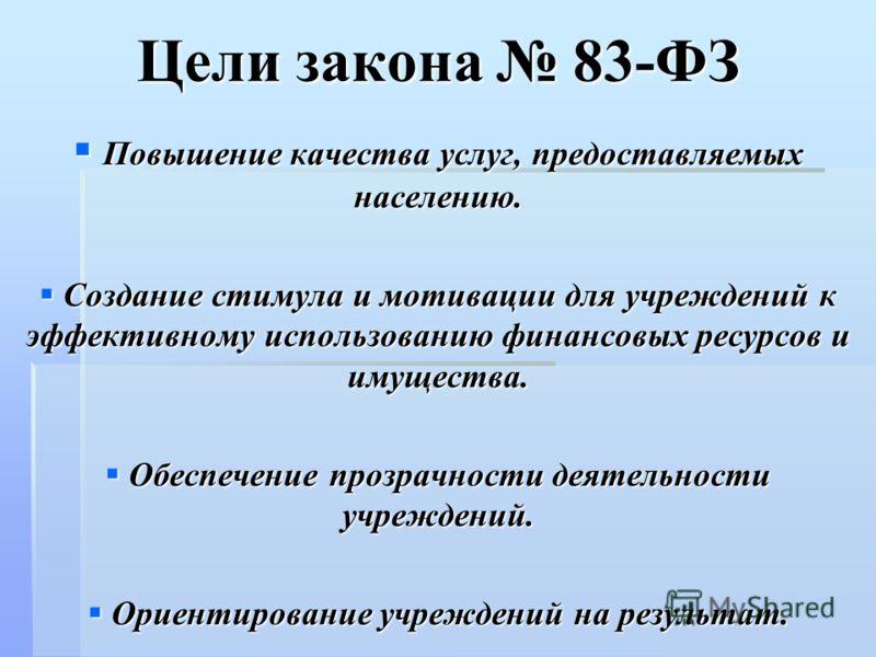 Цели закона 83-ФЗ Повышение качества услуг, предоставляемых населению. Повышение качества услуг, предоставляемых населению. Создание стимула и мотивации для учреждений к эффективному использованию финансовых ресурсов и имущества. Создание стимула и м