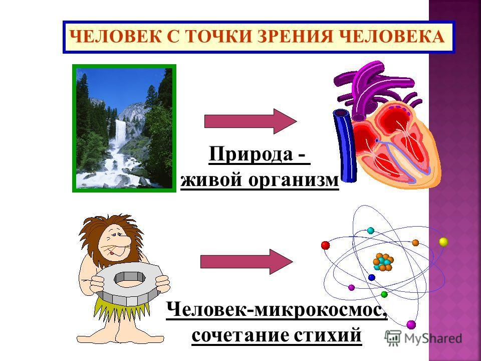 ЧЕЛОВЕК С ТОЧКИ ЗРЕНИЯ ЧЕЛОВЕКА Человек-микрокосмос, сочетание стихий Природа - живой организм