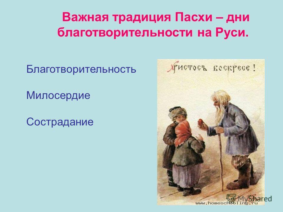 Важная традиция Пасхи – дни благотворительности на Руси. Благотворительность Милосердие Сострадание