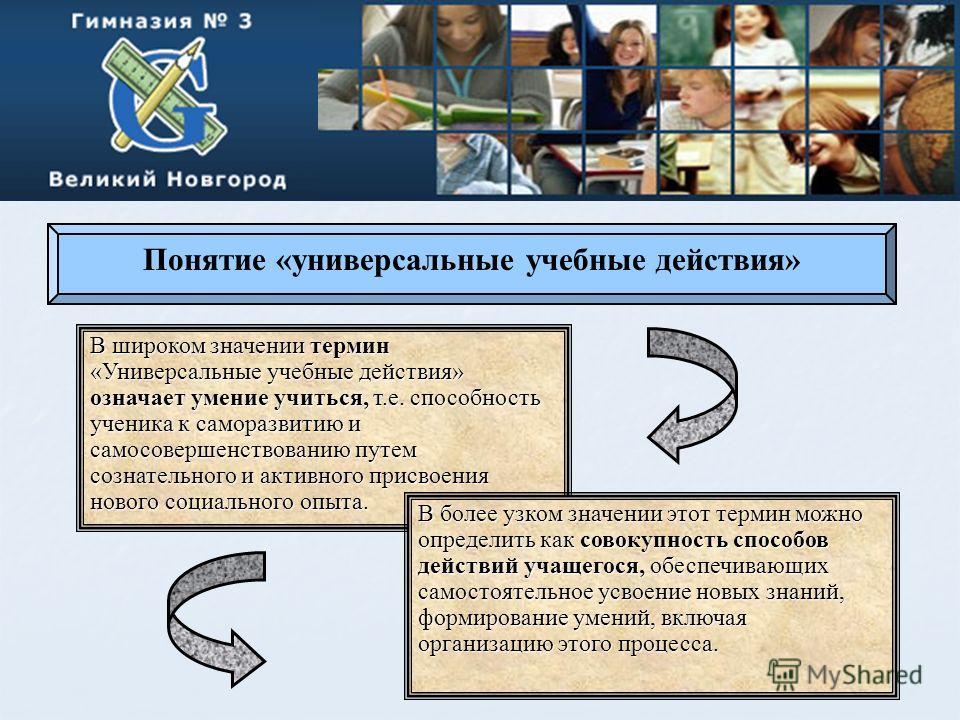 Понятие «универсальные учебные действия» В широком значении термин «Универсальные учебные действия» означает умение учиться, т.е. способность ученика к саморазвитию и самосовершенствованию путем сознательного и активного присвоения нового социального