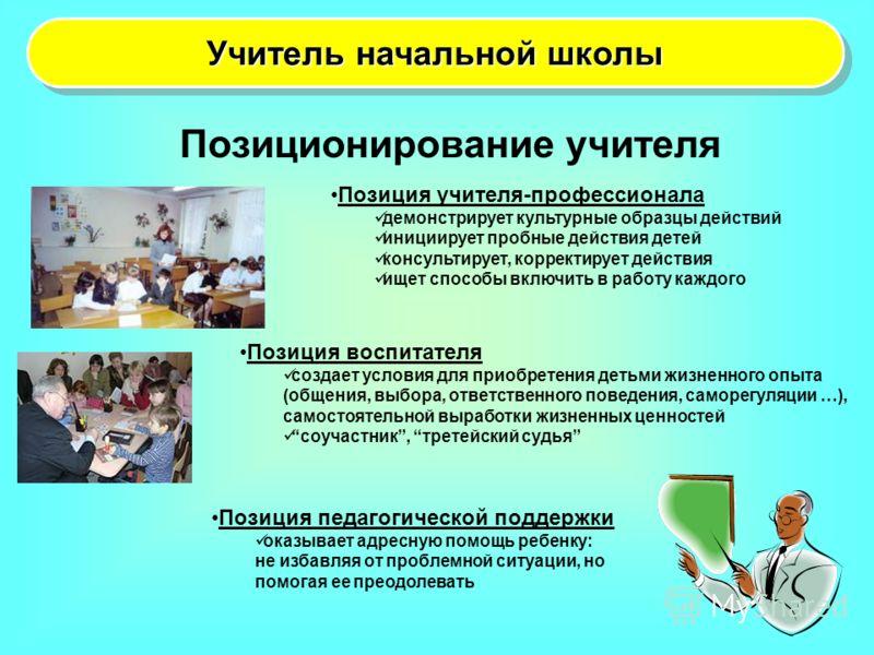 Учитель начальной школы Позиционирование учителя Позиция учителя-профессионала демонстрирует культурные образцы действий инициирует пробные действия детей консультирует, корректирует действия ищет способы включить в работу каждого Позиция воспитателя