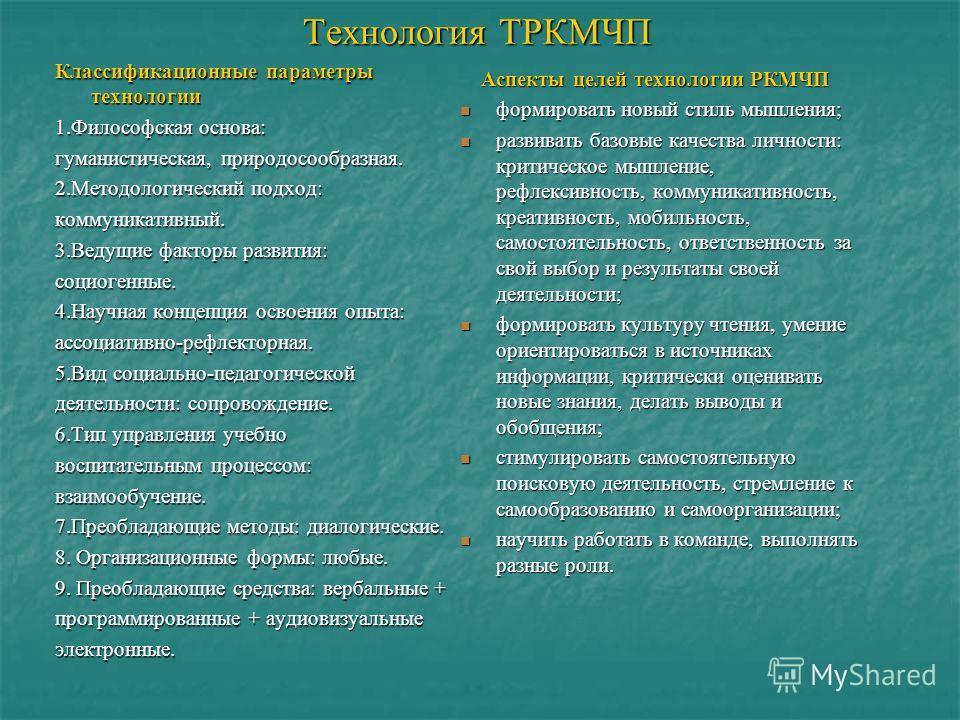 Технология ТРКМЧП Классификационные параметры технологии 1.Философская основа: гуманистическая, природосообразная. 2.Методологический подход: коммуникативный. 3.Ведущие факторы развития: социогенные. 4.Научная концепция освоения опыта: ассоциативно-р