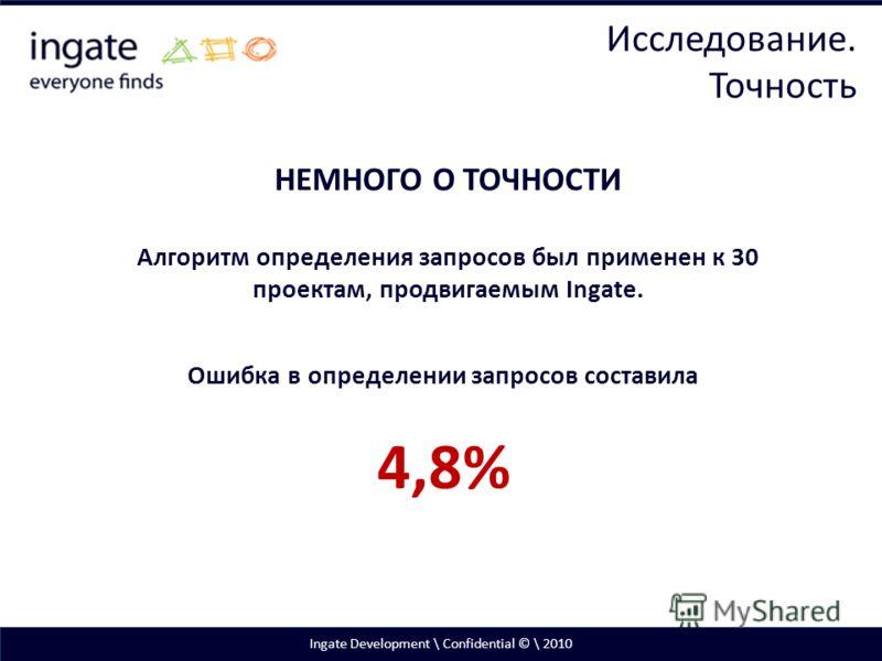 Ingate Development \ Confidential © \ 2010 НЕМНОГО О ТОЧНОСТИ Алгоритм определения запросов был применен к 30 проектам, продвигаемым Ingate. Ошибка в определении запросов составила 4,8% Исследование. Точность