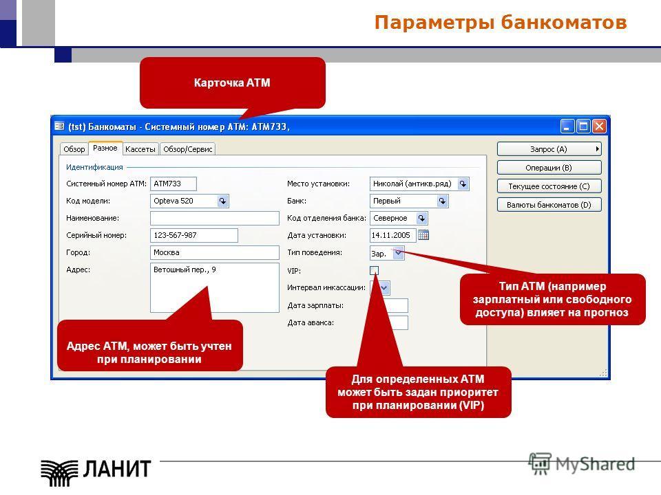 Параметры банкоматов Адрес АТМ, может быть учтен при планировании Тип АТМ (например зарплатный или свободного доступа) влияет на прогноз Для определенных АТМ может быть задан приоритет при планировании (VIP) Карточка АТМ