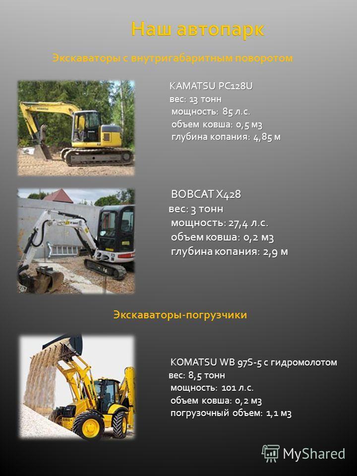 Наш автопарк KAMATSU PC128U вес: 13 тонн мощность: 85 л.с. мощность: 85 л.с. объем ковша: 0,5 м3 объем ковша: 0,5 м3 глубина копания: 4,85 м глубина копания: 4,85 м BOBCAT X428 вес: 3 тонн мощность: 27,4 л.с. мощность: 27,4 л.с. объем ковша: 0,2 м3 о