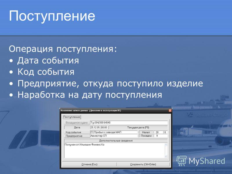 Поступление Операция поступления: Дата события Код события Предприятие, откуда поступило изделие Наработка на дату поступления