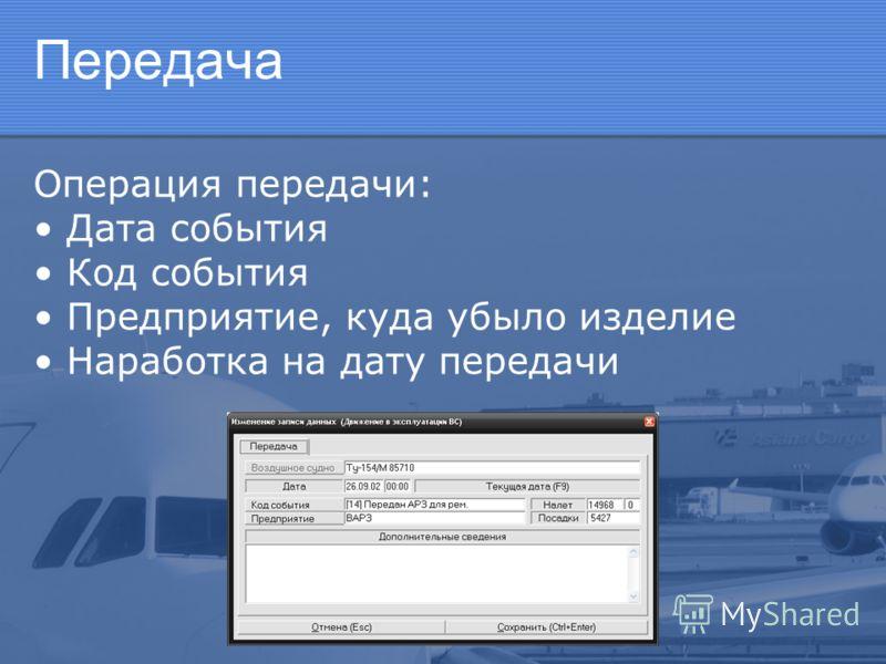 Передача Операция передачи: Дата события Код события Предприятие, куда убыло изделие Наработка на дату передачи
