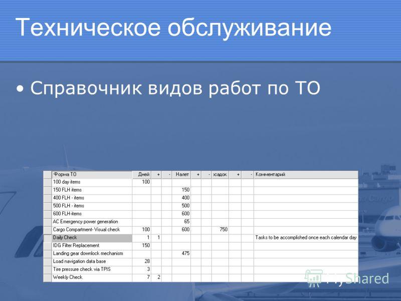 Техническое обслуживание Справочник видов работ по ТО