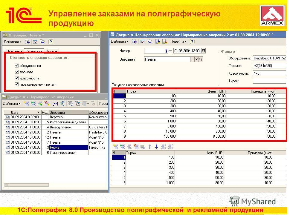 12 из 22 Управление заказами на полиграфическую продукцию 1С:Полиграфия 8.0 Производство полиграфической и рекламной продукции