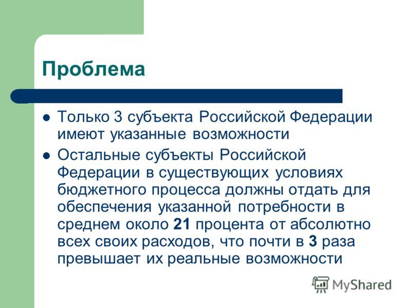 Проблема Только 3 субъекта Российской Федерации имеют указанные возможности Остальные субъекты Российской Федерации в существующих условиях бюджетного процесса должны отдать для обеспечения указанной потребности в среднем около 21 процента от абсолют