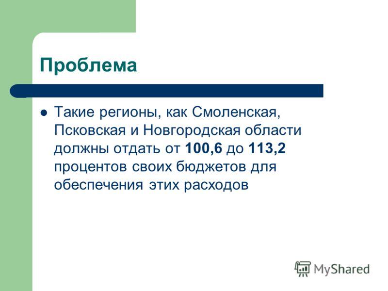 Проблема Такие регионы, как Смоленская, Псковская и Новгородская области должны отдать от 100,6 до 113,2 процентов своих бюджетов для обеспечения этих расходов