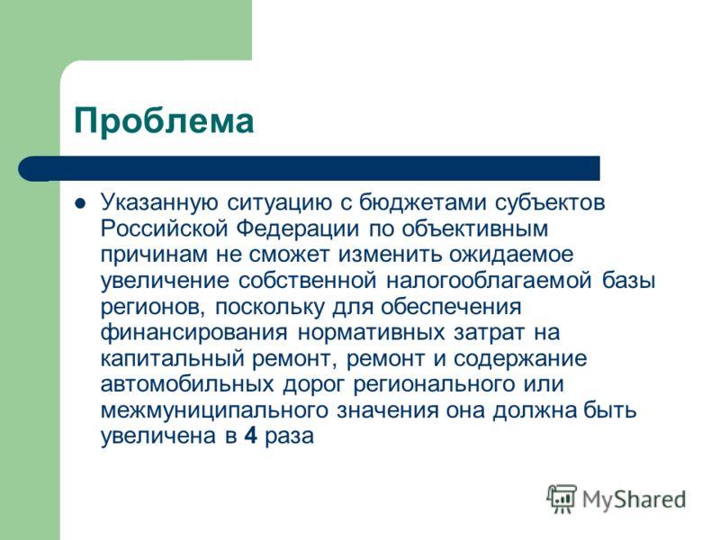 Проблема Указанную ситуацию с бюджетами субъектов Российской Федерации по объективным причинам не сможет изменить ожидаемое увеличение собственной налогооблагаемой базы регионов, поскольку для обеспечения финансирования нормативных затрат на капиталь