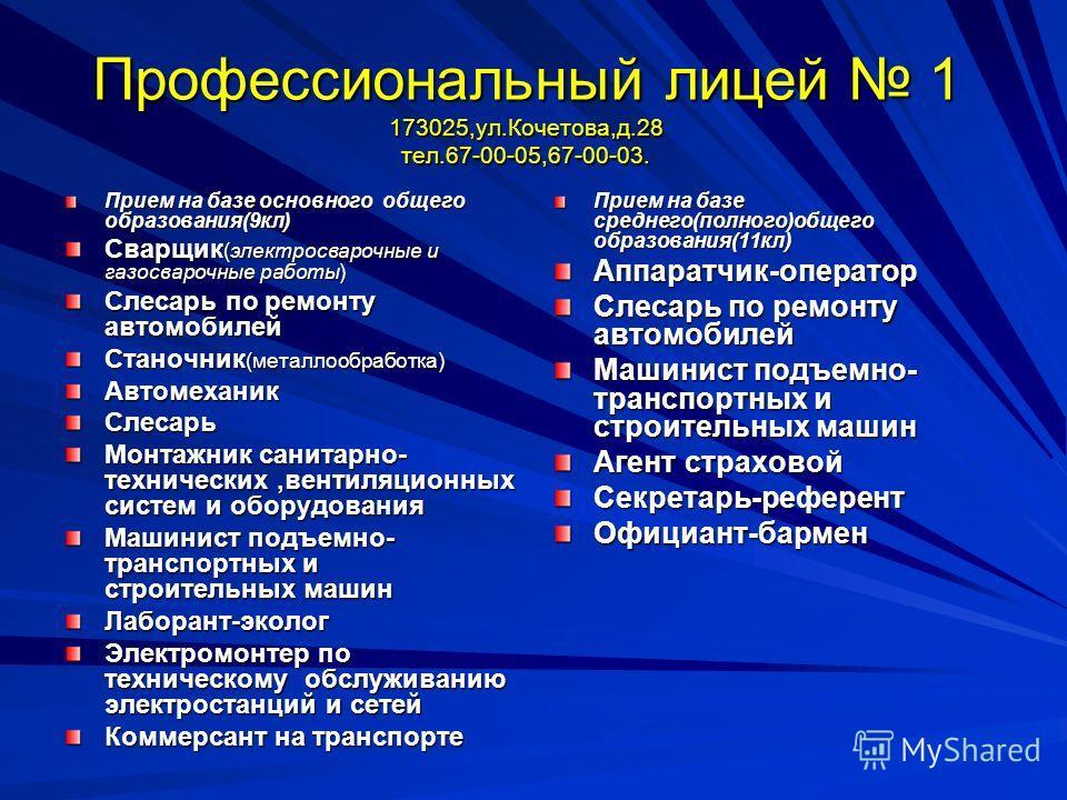 Учреждения начального профессионального образования Великого Новгорода