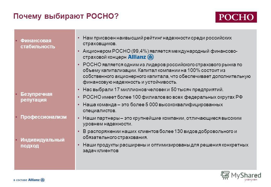 9 укенукен Почему выбирают РОСНО? Нам присвоен наивысший рейтинг надежности среди российских страховщиков. Акционером РОСНО (99,4%) является международный финансово- страховой концерн РОСНО является одним из лидеров российского страхового рынка по об