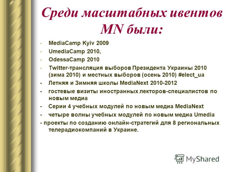 Среди масштабных ивентов MN были: -MediaCamp Kyiv 2009 -UmediaCamp 2010, -OdessaCamp 2010 -Twitter-трансляция выборов Президента Украины 2010 (зима 2010) и местных выборов (осень 2010) #elect_ua - Летняя и Зимняя школы MediaNext 2010-2012 - гостевые