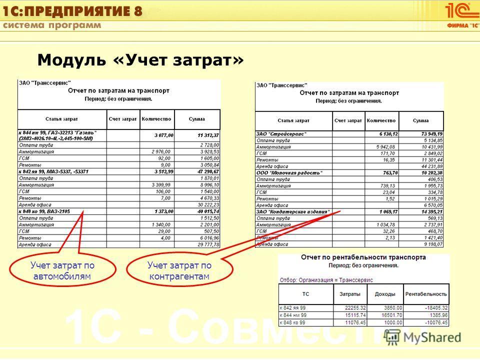 1С:Управление автотранспортом Слайд 46 из [60] Модуль «Учет затрат» Учет затрат по автомобилям Учет затрат по контрагентам