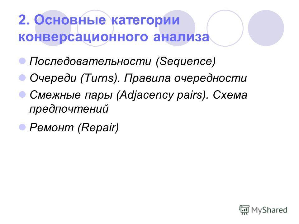2. Основные категории конверсационного анализа Последовательности (Sequence) Очереди (Turns). Правила очередности Смежные пары (Adjacency pairs). Схема предпочтений Ремонт (Repair)
