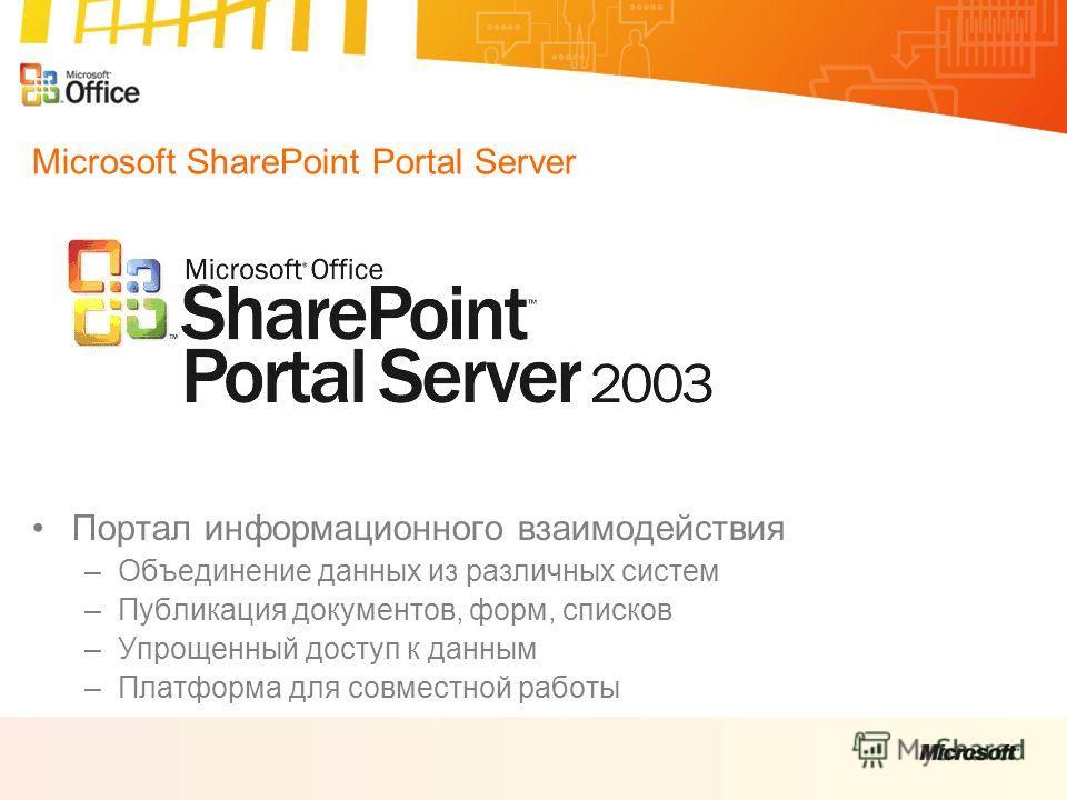 Microsoft SharePoint Portal Server Портал информационного взаимодействия –Объединение данных из различных систем –Публикация документов, форм, списков –Упрощенный доступ к данным –Платформа для совместной работы