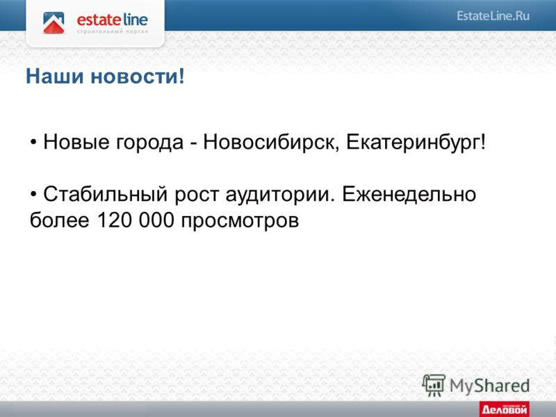 Новые города - Новосибирск, Екатеринбург! Стабильный рост аудитории. Еженедельно более 120 000 просмотров Наши новости!