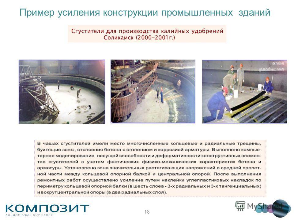 18 Пример усиления конструкции промышленных зданий