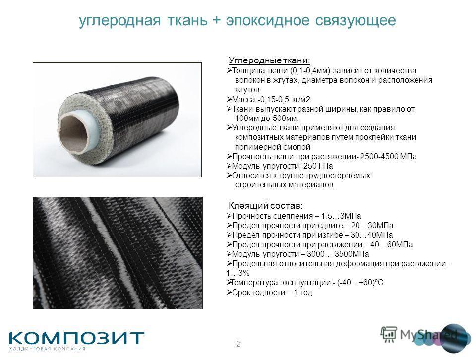 2 углеродная ткань + эпоксидное связующее Углеродные ткани: Толщина ткани (0,1-0,4мм) зависит от количества волокон в жгутах, диаметра волокон и расположения жгутов. Масса -0,15-0,5 кг/м2 Ткани выпускают разной ширины, как правило от 100мм до 500мм.