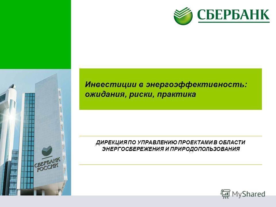 Инвестиции в энергоэффективность: ожидания, риски, практика ДИРЕКЦИЯ ПО УПРАВЛЕНИЮ ПРОЕКТАМИ В ОБЛАСТИ ЭНЕРГОСБЕРЕЖЕНИЯ И ПРИРОДОПОЛЬЗОВАНИЯ