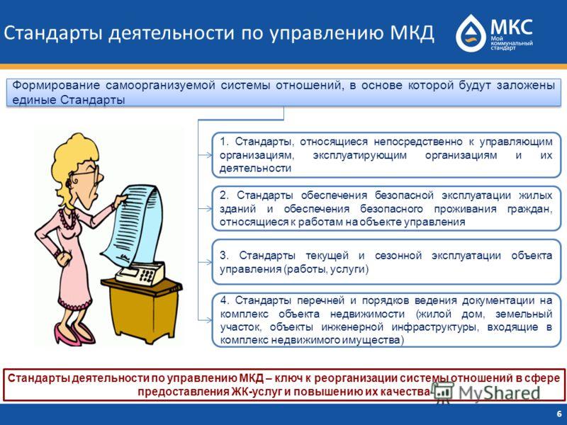 Стандарты деятельности по управлению МКД 6 Формирование самоорганизуемой системы отношений, в основе которой будут заложены единые Стандарты 1. Стандарты, относящиеся непосредственно к управляющим организациям, эксплуатирующим организациям и их деяте