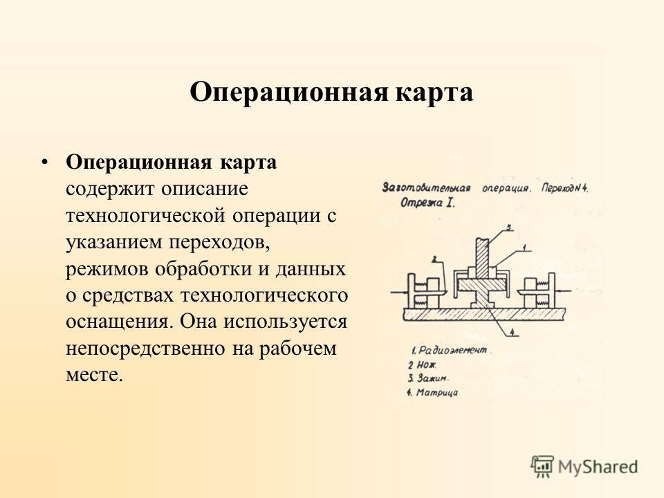 Операционная карта Операционная карта содержит описание технологической операции с указанием переходов, режимов обработки и данных о средствах технологического оснащения. Она используется непосредственно на рабочем месте.
