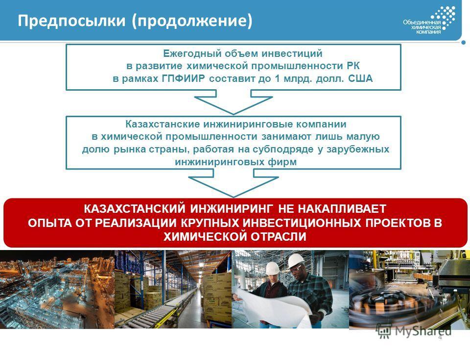 Предпосылки (продолжение) 4 Ежегодный объем инвестиций в развитие химической промышленности РК в рамках ГПФИИР составит до 1 млрд. долл. США Казахстанские инжиниринговые компании в химической промышленности занимают лишь малую долю рынка страны, рабо