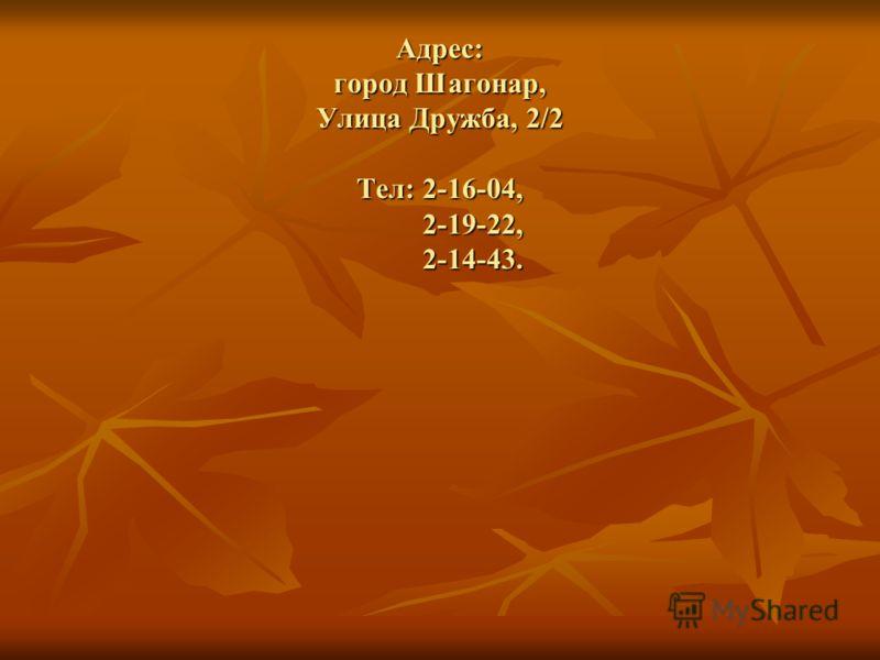Адрес: город Шагонар, Улица Дружба, 2/2 Тел: 2-16-04, 2-19-22, 2-14-43.